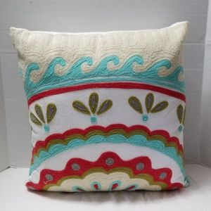 Embroidered Colorful Waves Accents Riztex Pillow